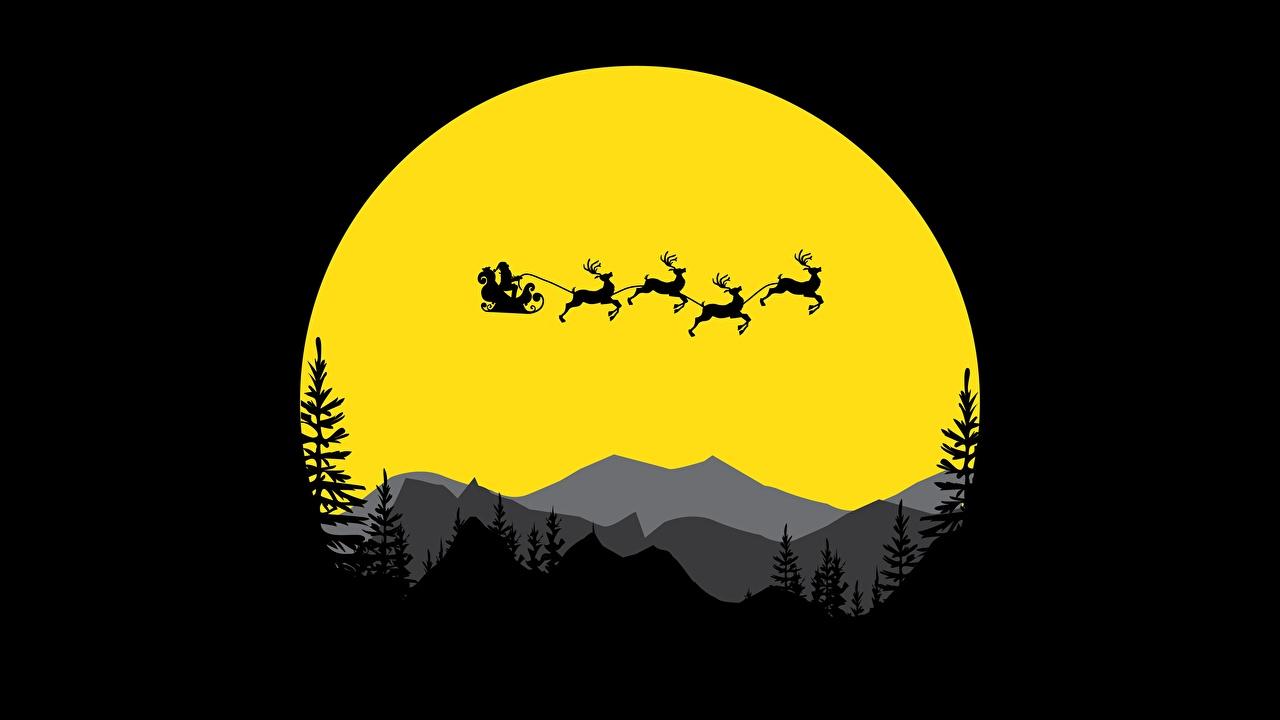 Nouvel An Cervidés Papá Noel Silhouette Vol cerfs, silhouettes
