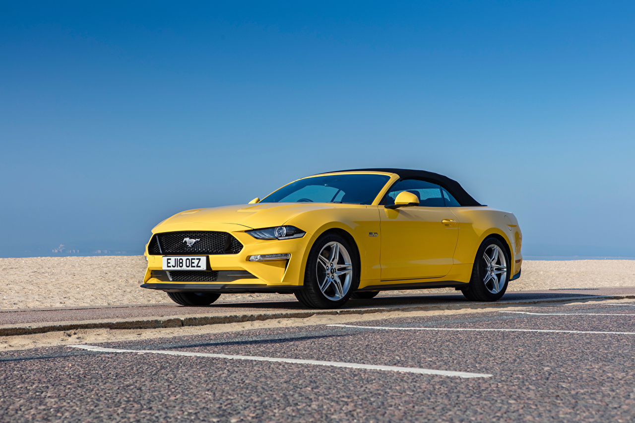 Wallpaper Ford Mustang GT Convertible, UK-spec, 2018-- Cabriolet Yellow Cars Metallic Convertible auto automobile