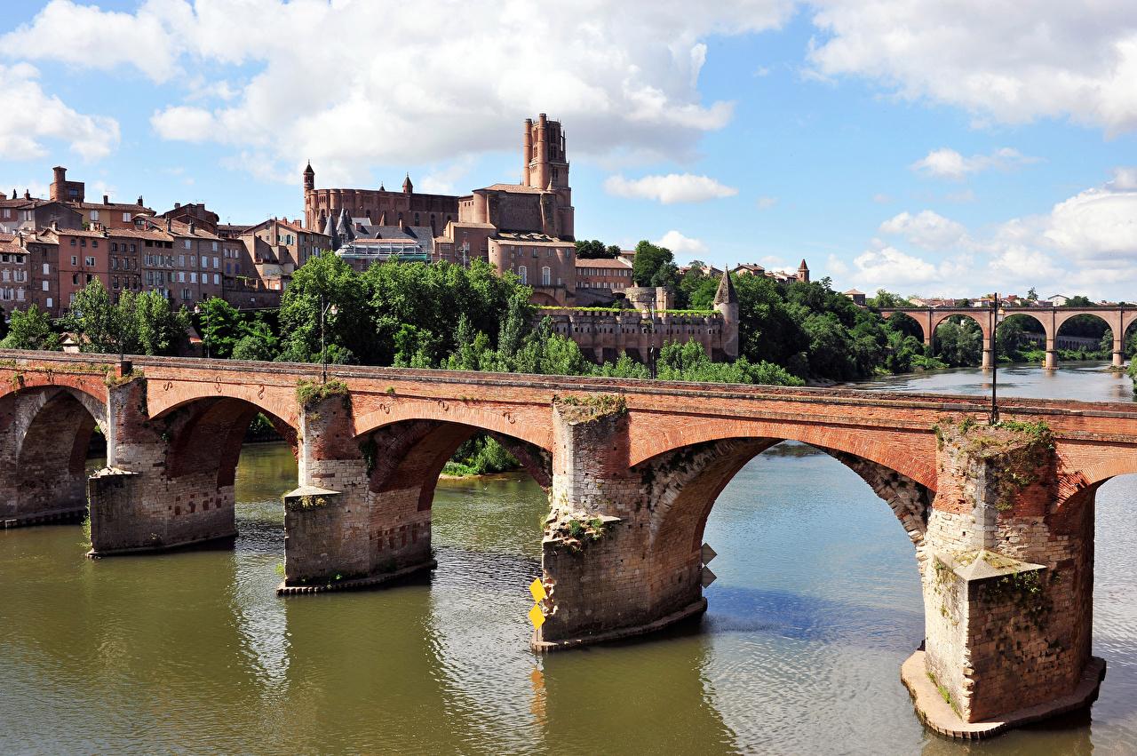 Desktop Wallpapers France Albi, Tarn Bridges river Cities bridge Rivers