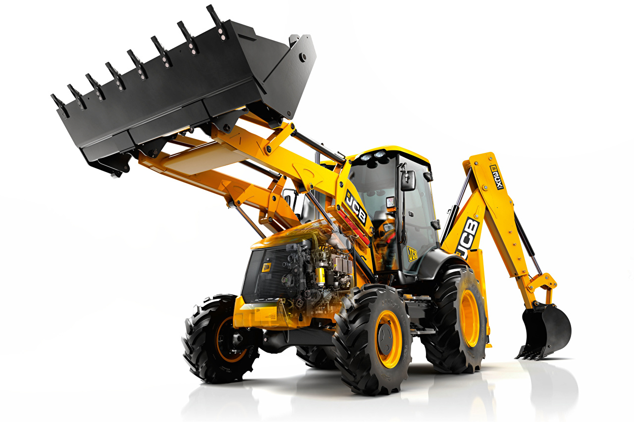 Pictures Excavator front-end loader JCB Yellow White background Loader payloader front loader