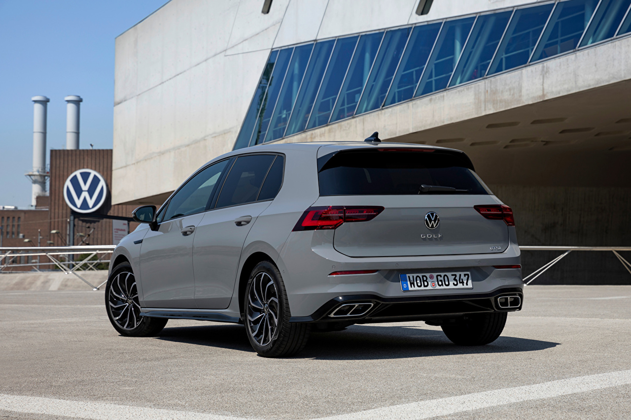 Photo Volkswagen Golf eTSI R-Line, 2020 gray Metallic Back view automobile Grey Cars auto