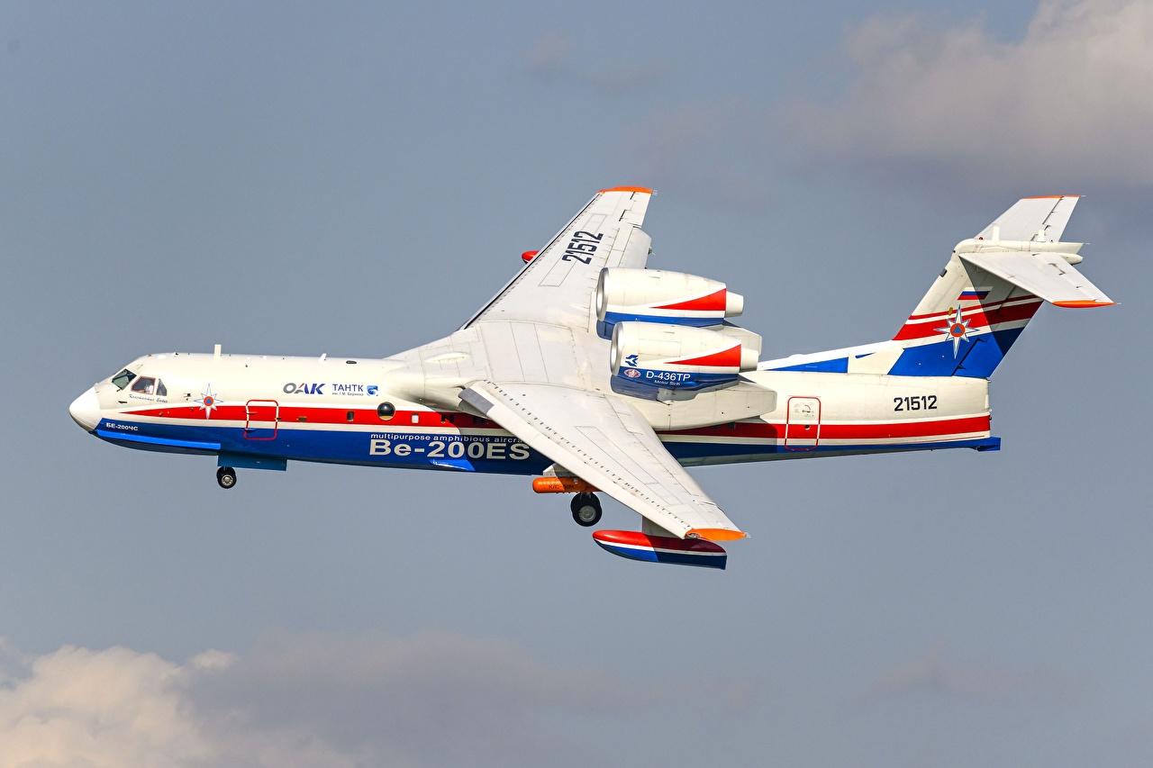 Desktop Hintergrundbilder Flugzeuge Be-200ES Flug Seitlich Luftfahrt
