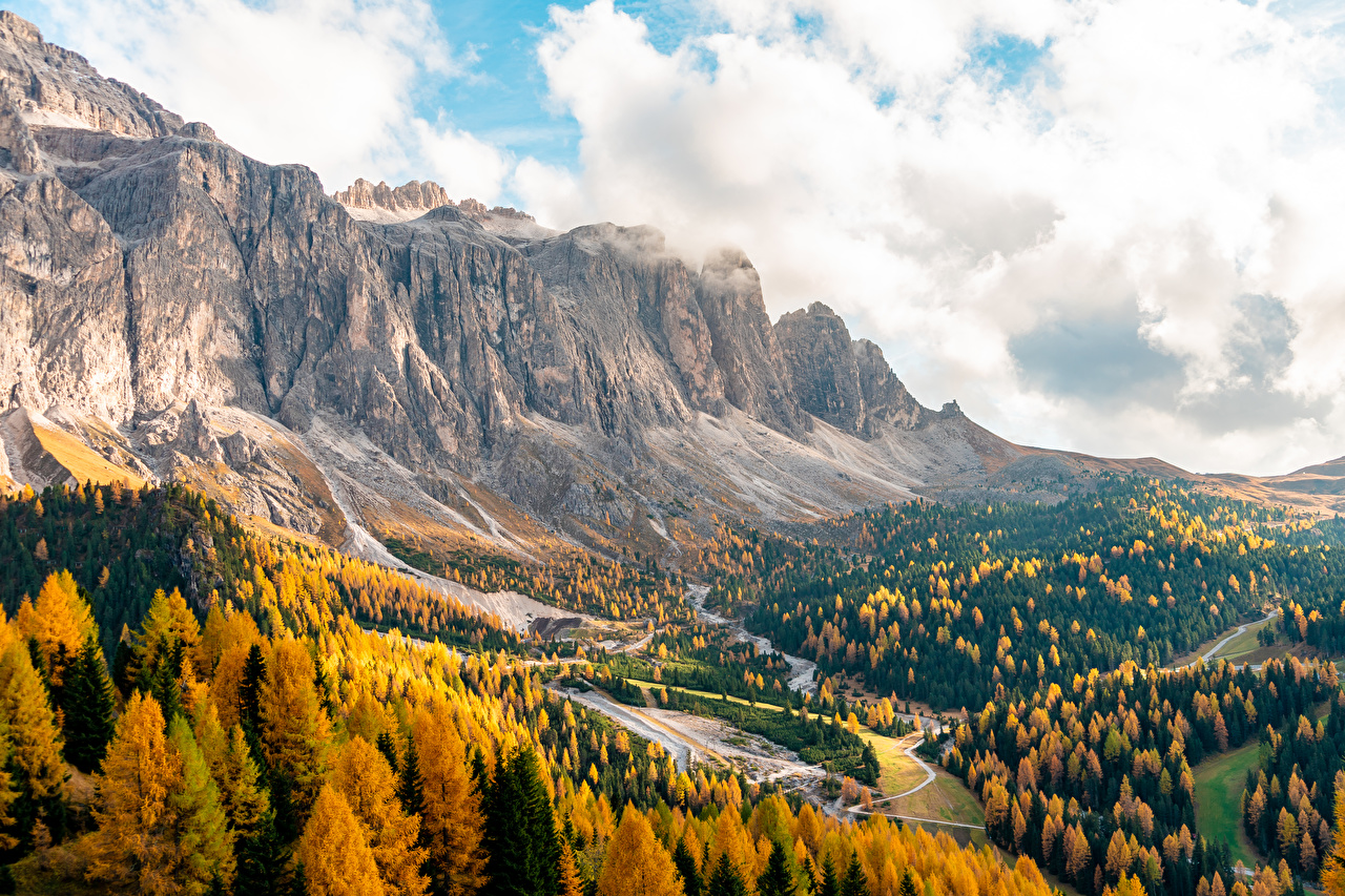 Images Italy Passo Gardena, South Tyrol, Dolomite Alps Autumn Nature Mountains Forests mountain forest