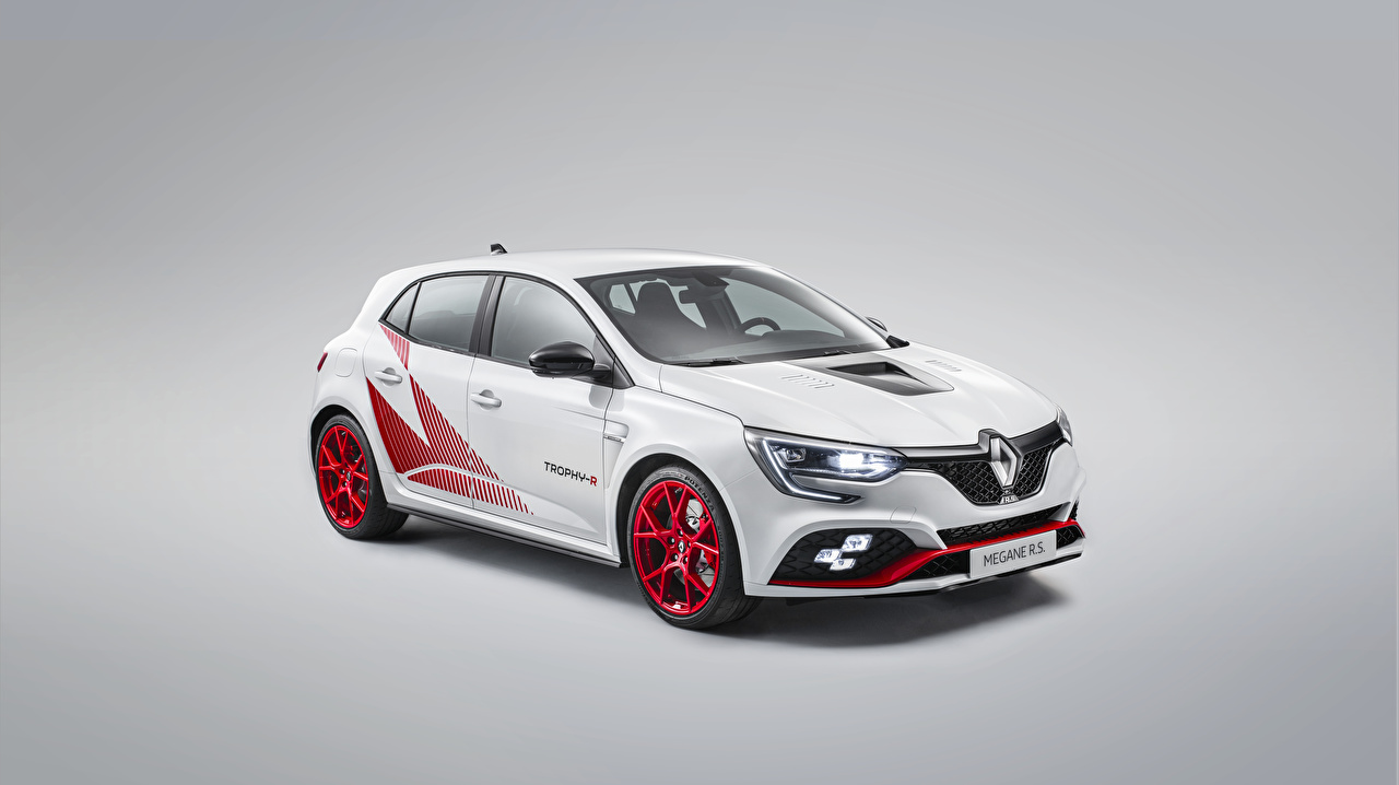 Photos Tuning Renault White Cars Gray background auto automobile