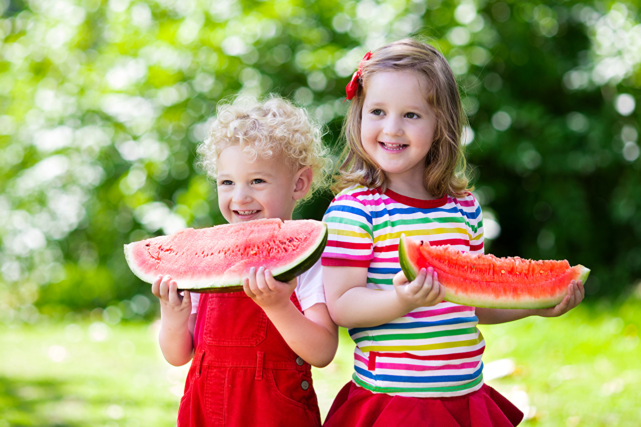 Image Little girls Boys Smile Children 2 Piece Watermelons child Two pieces