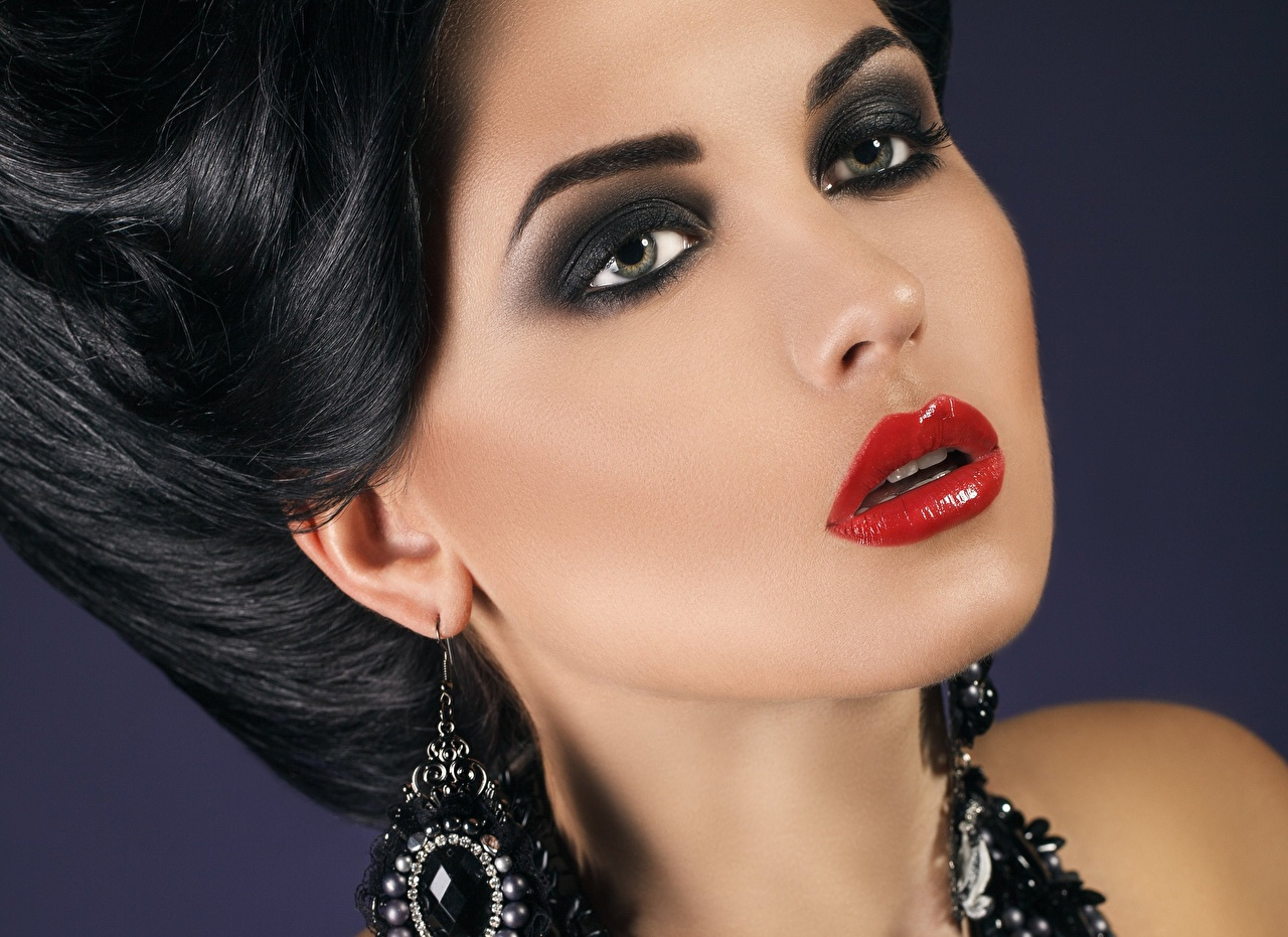 Photo Brunette girl Makeup Face Girls Earrings Closeup Staring Red lips female young woman Glance
