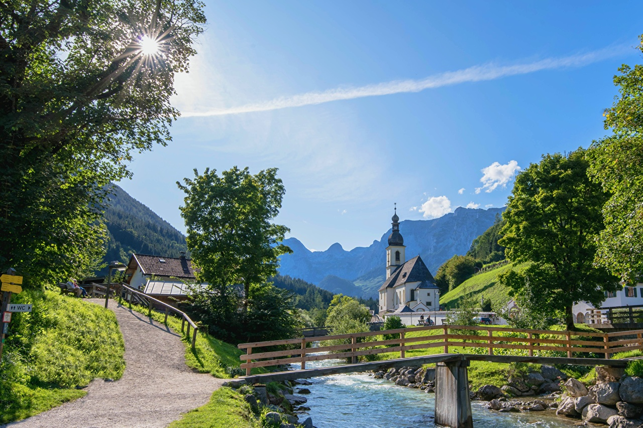 Pictures Bavaria Germany Village Berchtesgaden Bridges Rivers Cities bridge river