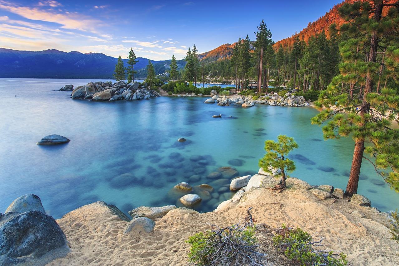 Images USA Sierra Nevada Nature Lake Forests sunrise and sunset stone forest Sunrises and sunsets Stones