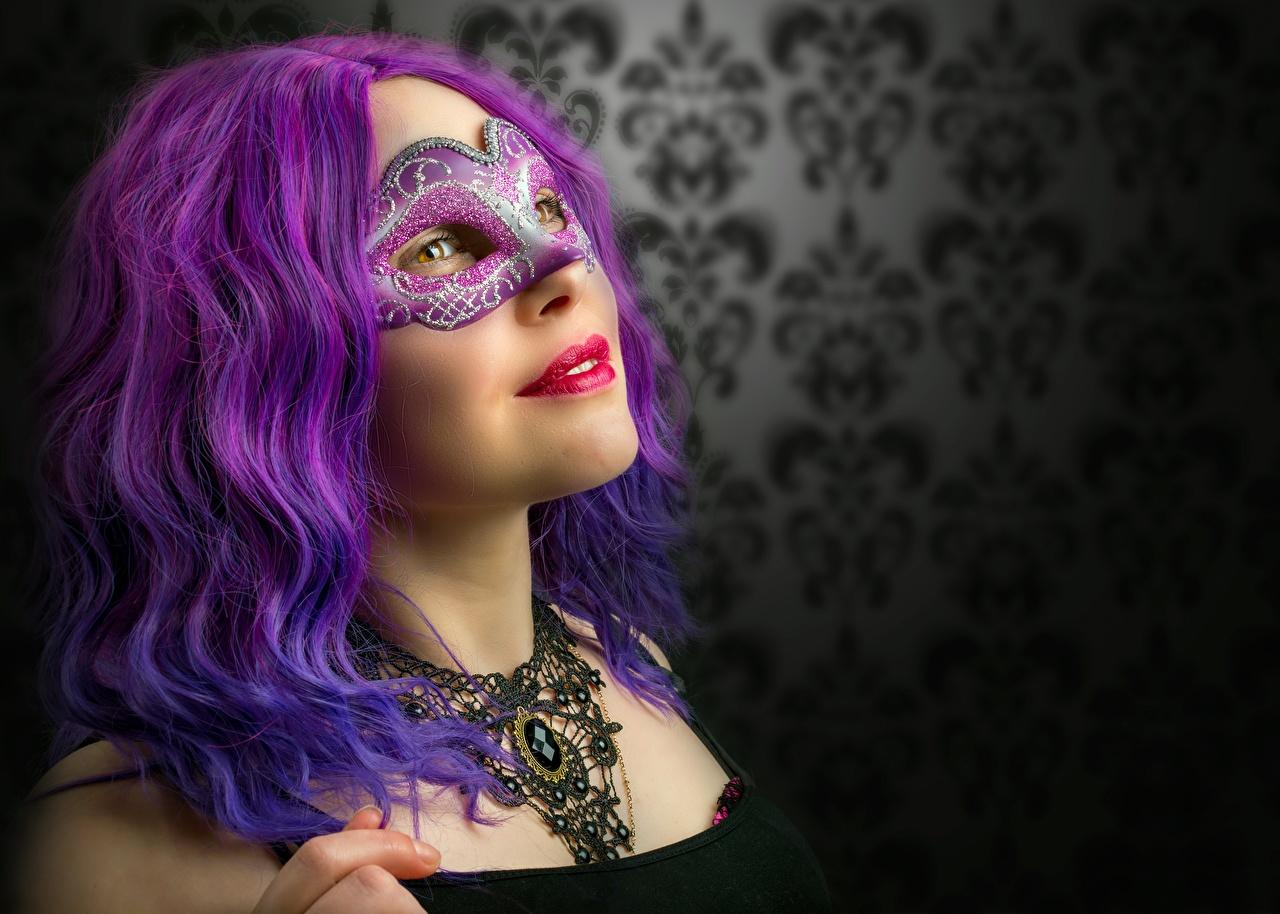 Fotos von Haar Violett junge frau Maske Blick Mädchens junge Frauen Starren