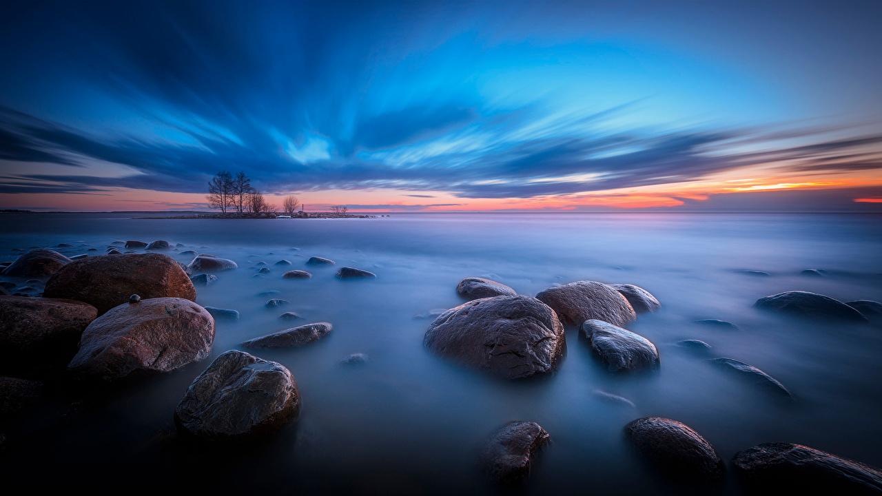 Desktop Wallpapers Finland Nature Sky Coast stone Evening Clouds Stones