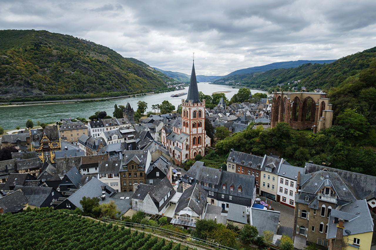 Image Church Germany Bacharach Mountains river Cities Building mountain Rivers Houses