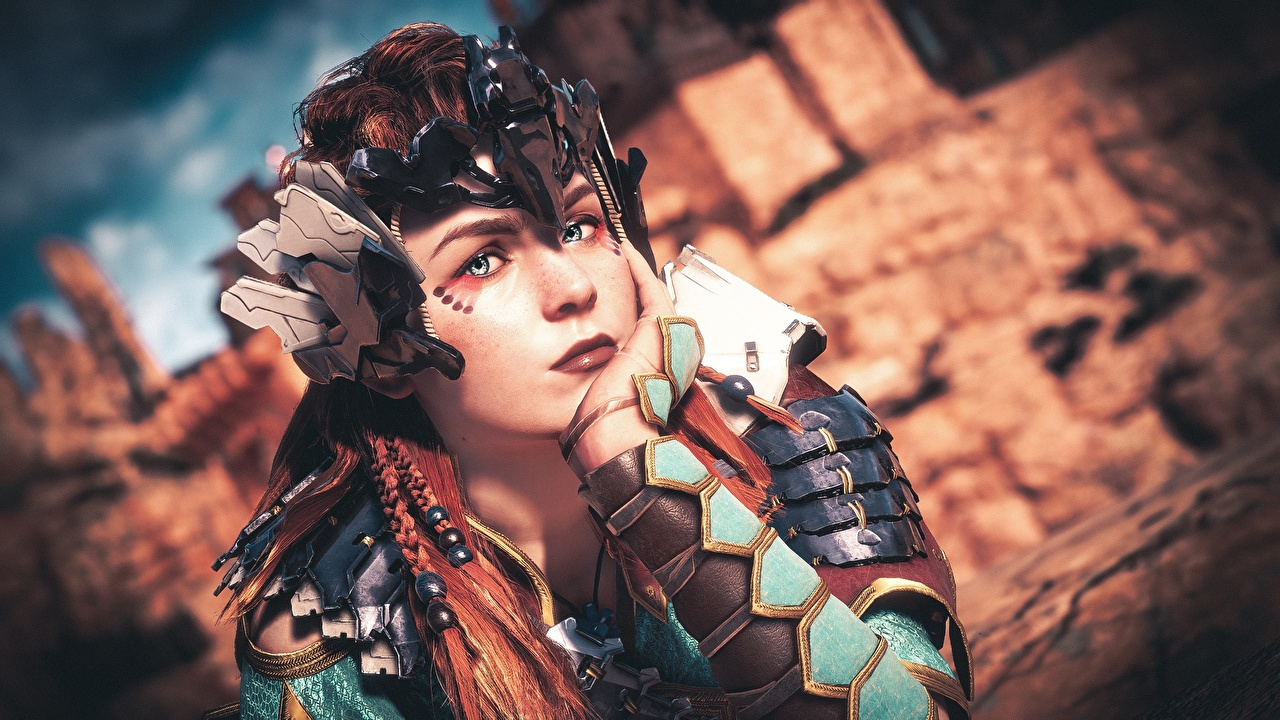 Pictures Horizon Zero Dawn armour Aloy female 3D Graphics Games Hands Staring Armor Girls young woman vdeo game Glance
