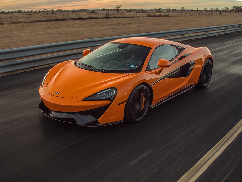 Picture McLaren Orange Motion auto Metallic moving riding driving at speed Cars automobile
