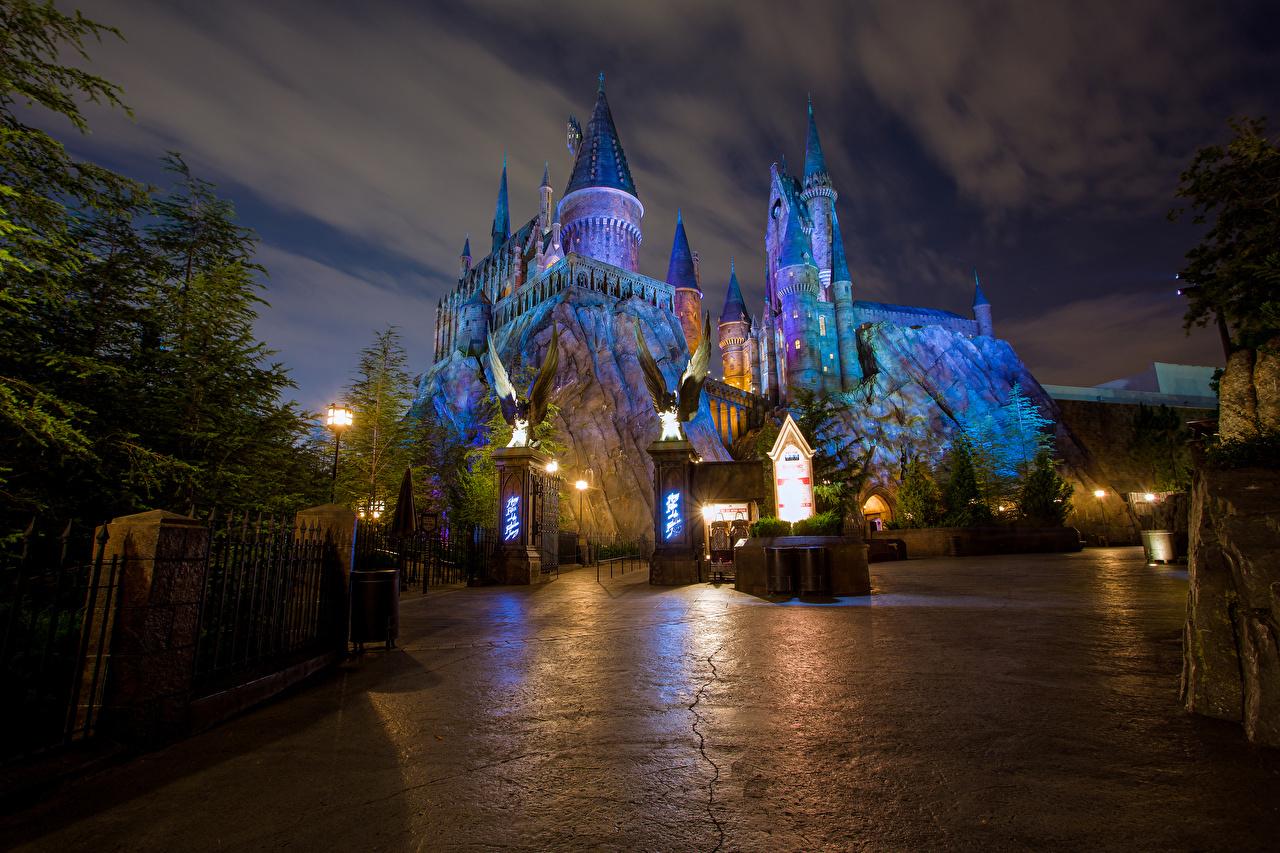 Foto Anaheim Kalifornien Disneyland Vereinigte Staaten HDRI Burg Park Nacht Straßenlaterne Städte Design USA HDR