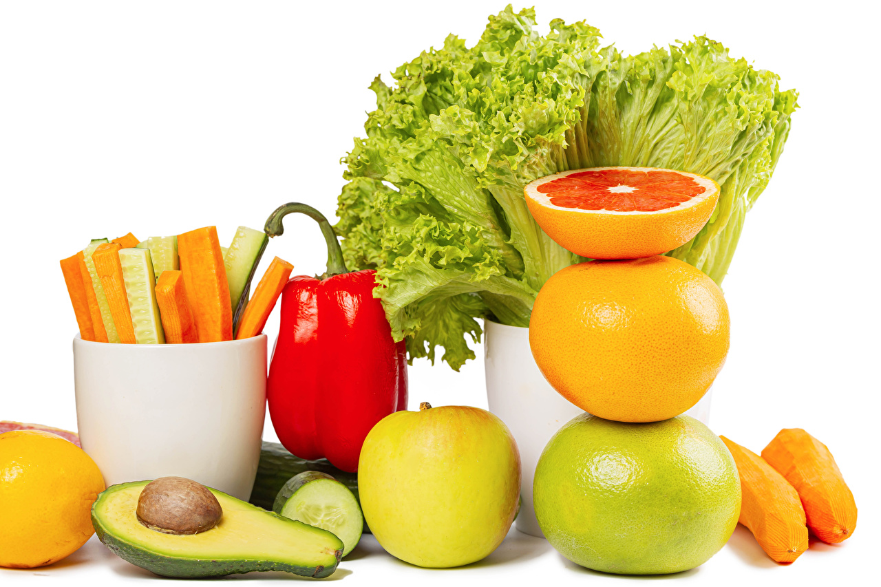 Desktop Wallpapers Carrots Mandarine Grapefruit Apples Avocado Food Fruit Vegetables Bell pepper White background