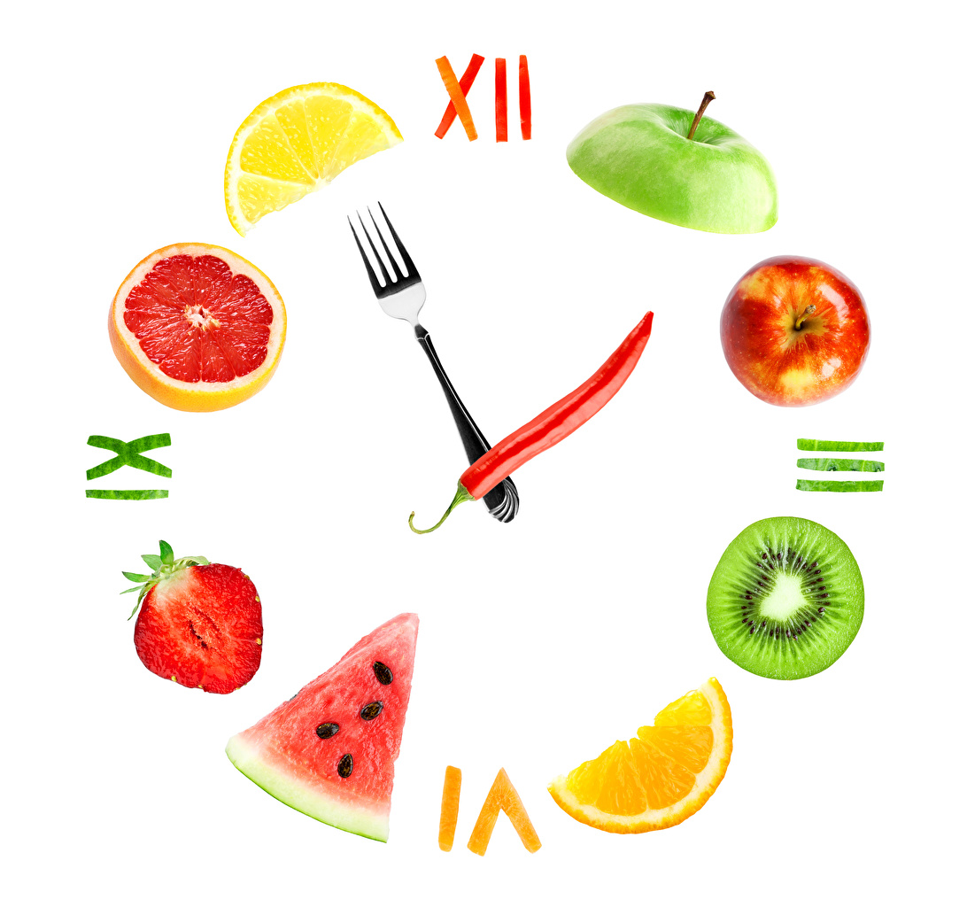 Picture Clock Apples Creative Strawberry Watermelons Food Fruit Clock face Bell pepper Citrus White background