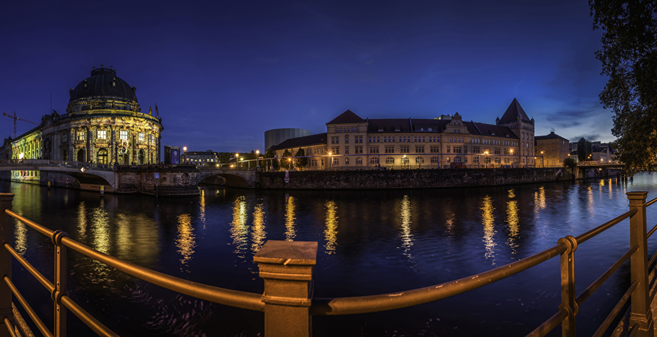 Photo Berlin Germany museums Bode Museum Fence Night Rivers Cities Building river night time Houses