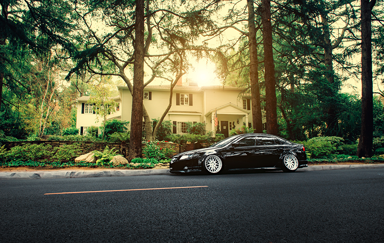 Picture Honda Accord Acura Tl Stance Black Side Automobile Trees