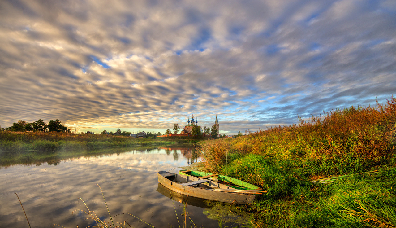 Desktop Wallpapers Village Nature Boats Rivers temple Clouds river Temples