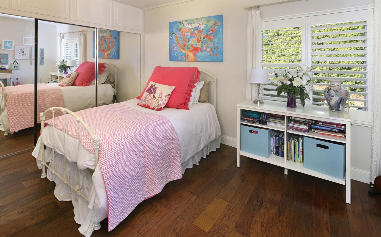 、インテリア、デザイン、寝室、ベッド、鏡、、