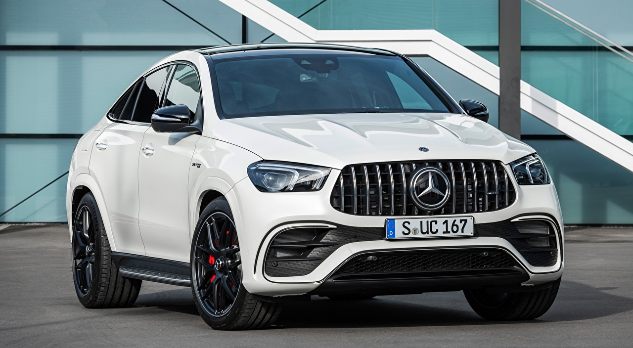 Wallpaper Mercedes-Benz AMG, GLE 63 S 4MATIC Coupe White auto Front Metallic Cars automobile