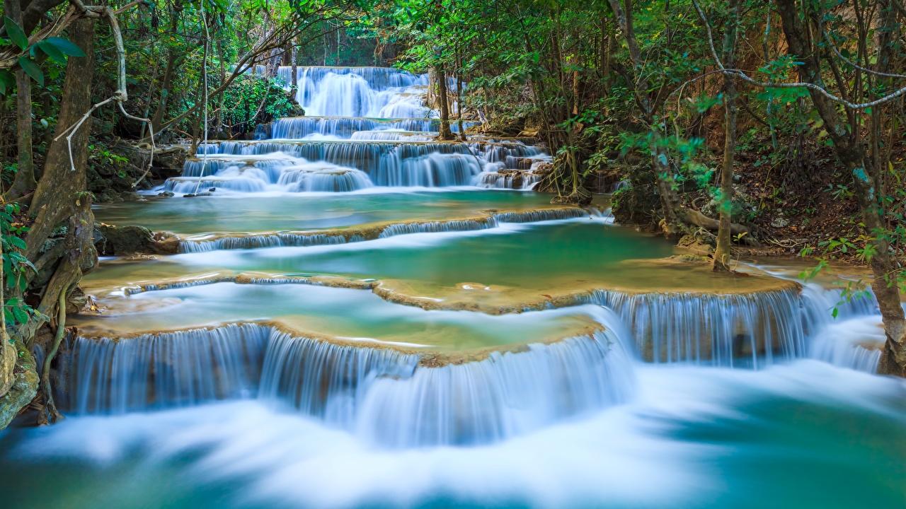 Image Thailand Erawan Waterfall, Kanchanaburi Province, Erawan National Park Nature Waterfalls Parks park