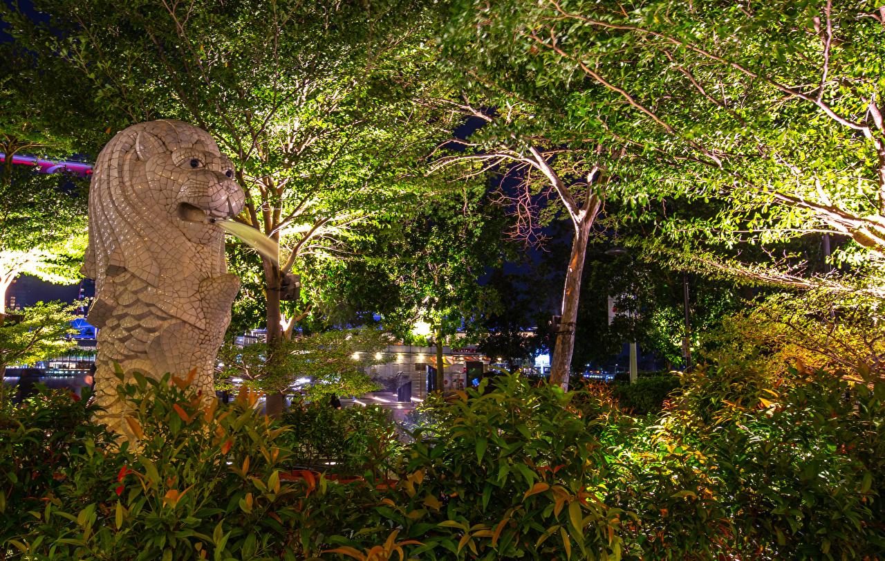 Desktop Wallpapers Singapore Merlion Park Nature park Branches Sculptures Parks