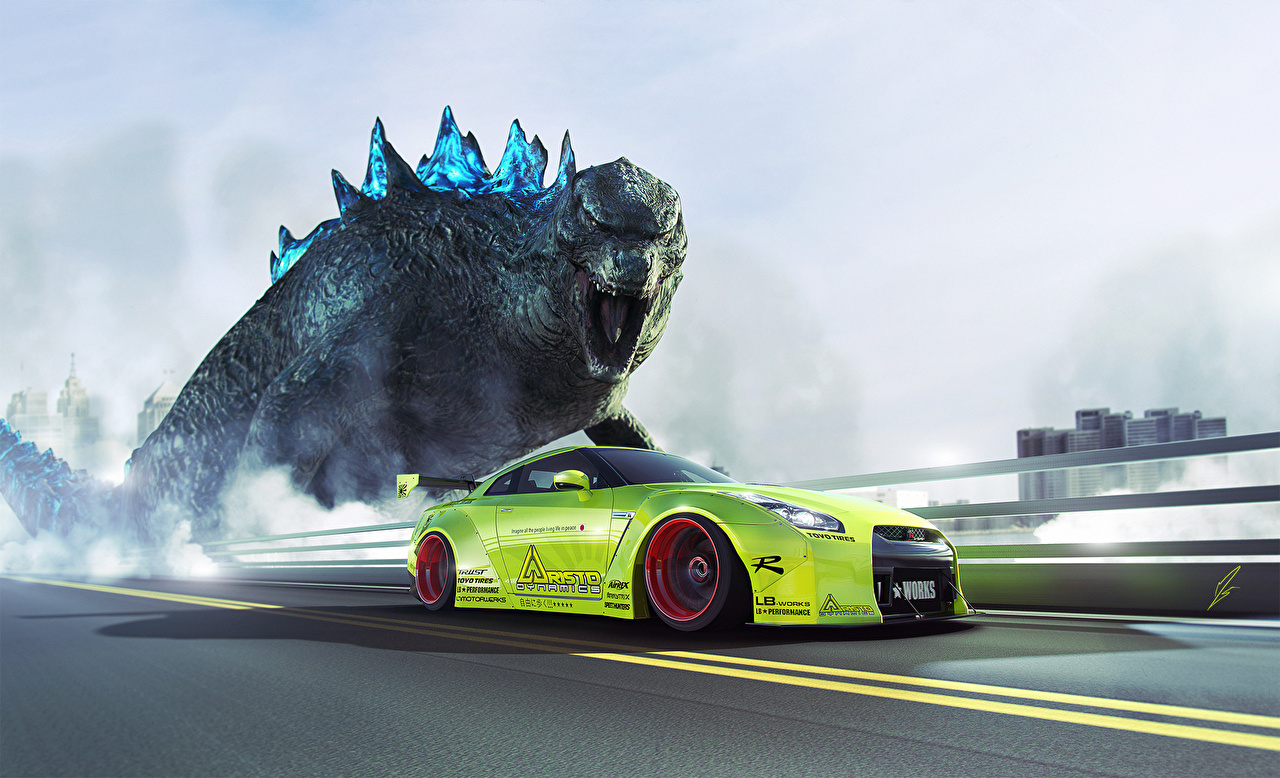 Picture Nissan Tuning Dinosaurs GTR R35 Liberty Godzilla lime color Side automobile Yellow green Cars auto