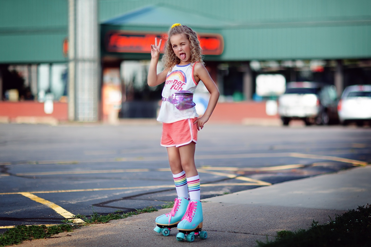 Images Little girls gestures curls Children Tongue Roller skates Gesture Curly child