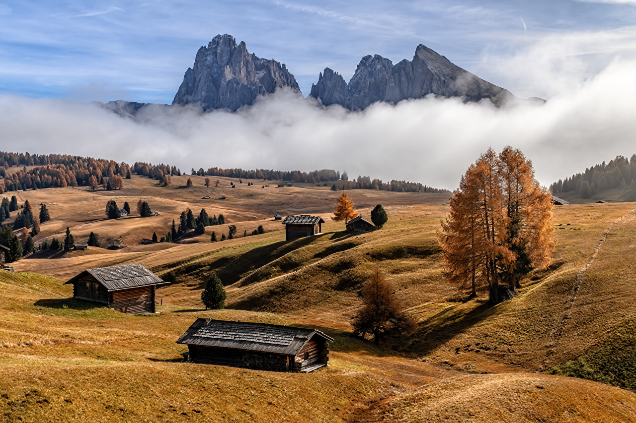 Picture Alps Italy South Tyrol Fog Nature Autumn Mountains mountain