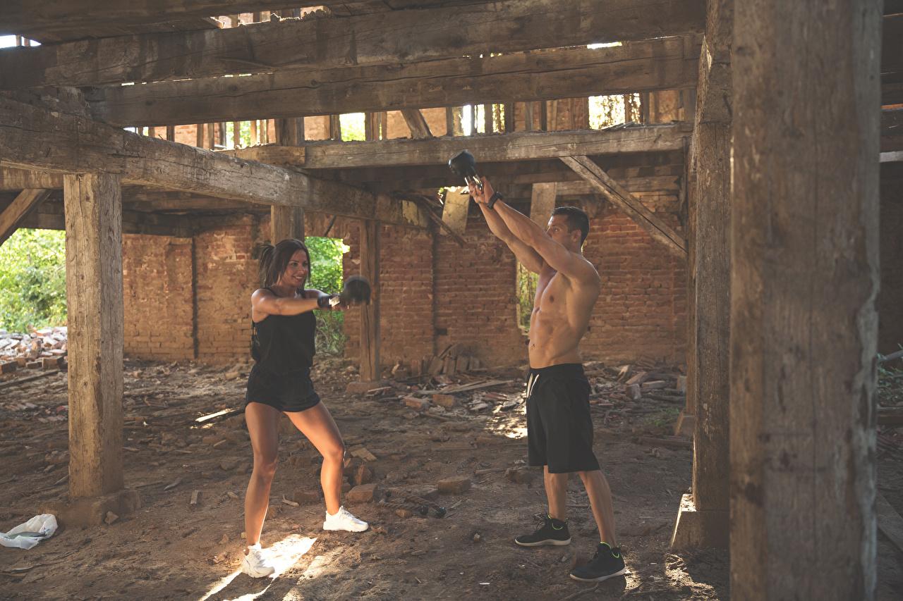 Homem De Fitness Exercício   Dois jovem mulher, mulheres jovens, moça, esporte, esportes, Aptidão física, 2, Exercício físico Desporto Meninas