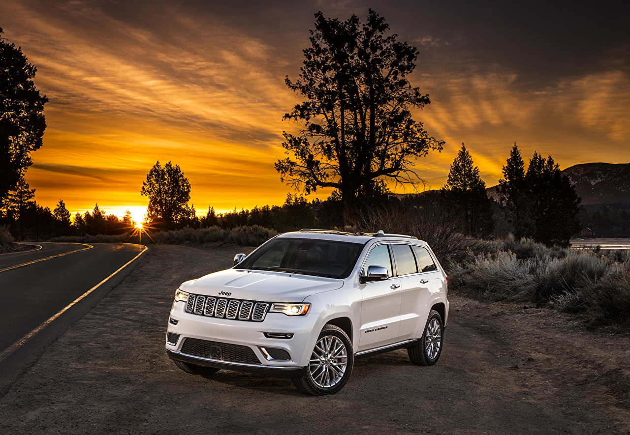 Image Jeep Grand Cherokee White Sunrises and sunsets Cars sunrise and sunset auto automobile