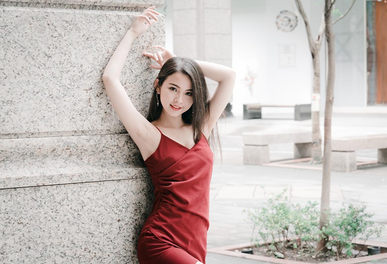 Bilder von Brünette Pose Mädchens Asiaten Hand Starren Kleid posiert junge frau junge Frauen Asiatische asiatisches Blick