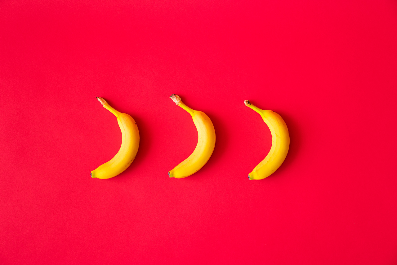 Photos Red Bananas Food Three 3 Red background