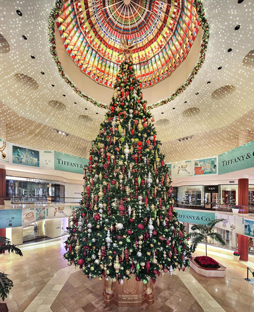 壁紙 新年 アメリカ合衆国 インテリア South Coast Plaza クリスマスツリー ボール 天井 ダウンロード 写真
