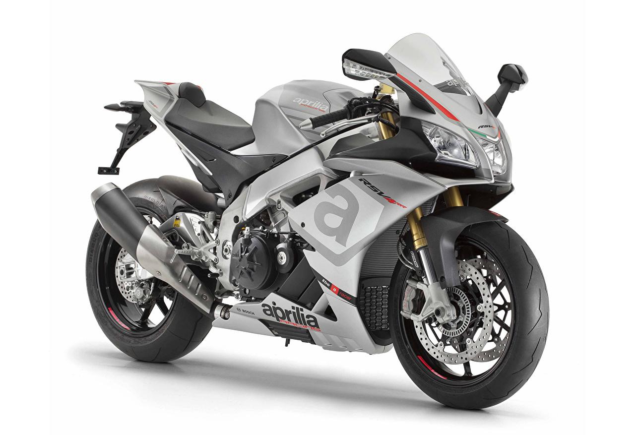 Desktop Hintergrundbilder Aprilia 2015-16 RSV4 RR Motorräder Weißer hintergrund Motorrad