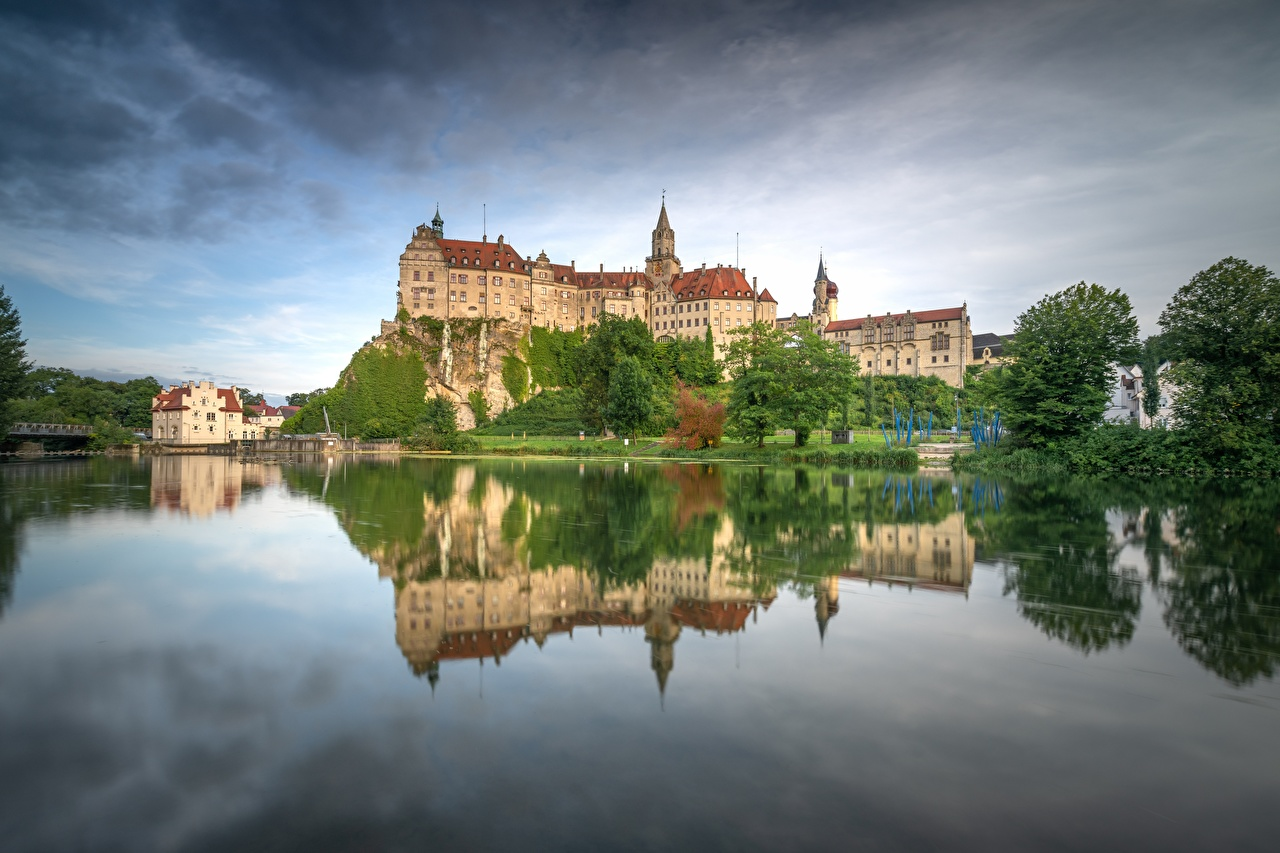 Photo Germany Schloss Sigmaringen castle Reflection Cities Castles reflected