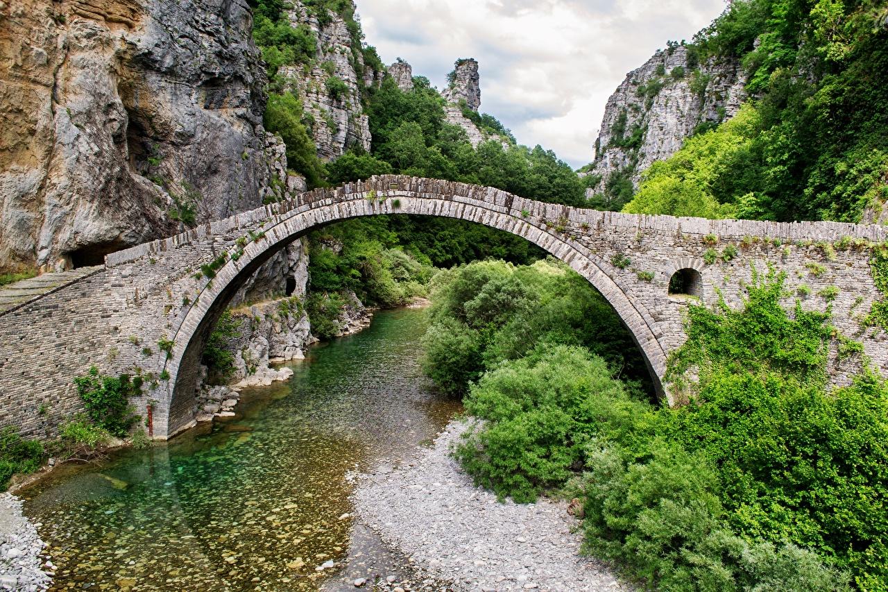 Image Greece Arch mountain area of Ioannina Cliff Nature Bridges Mountains Rivers Crag Rock bridge river