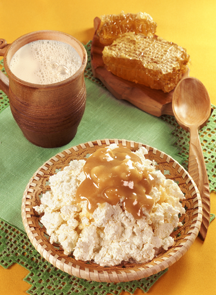 Desktop Wallpapers Milk Tablecloth Honey Quark curd cottage farmer cheese Food Spoon  for Mobile phone