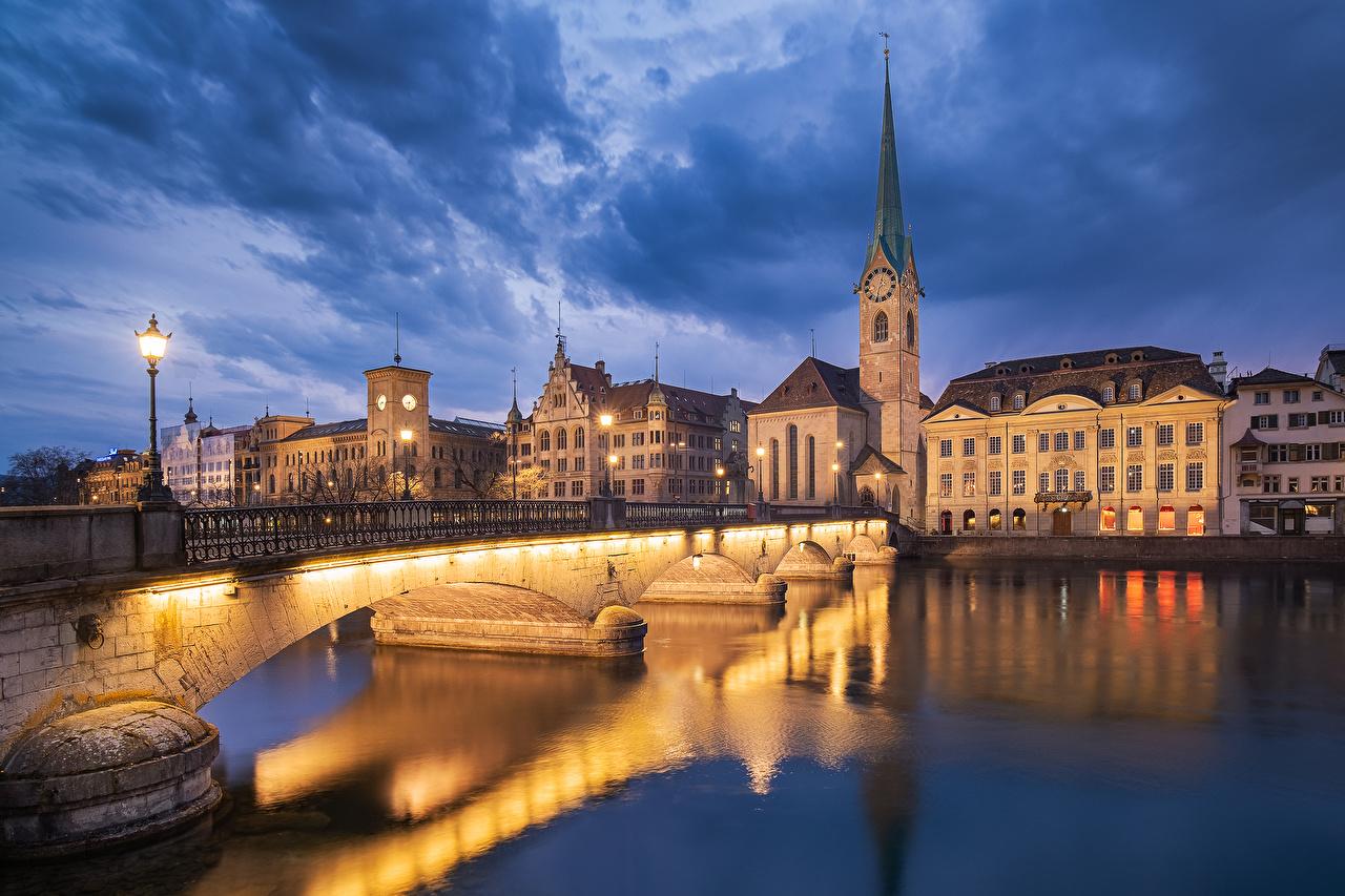 Wallpaper Zurich Switzerland Bridges Lake Evening Street lights Houses Cities bridge Building