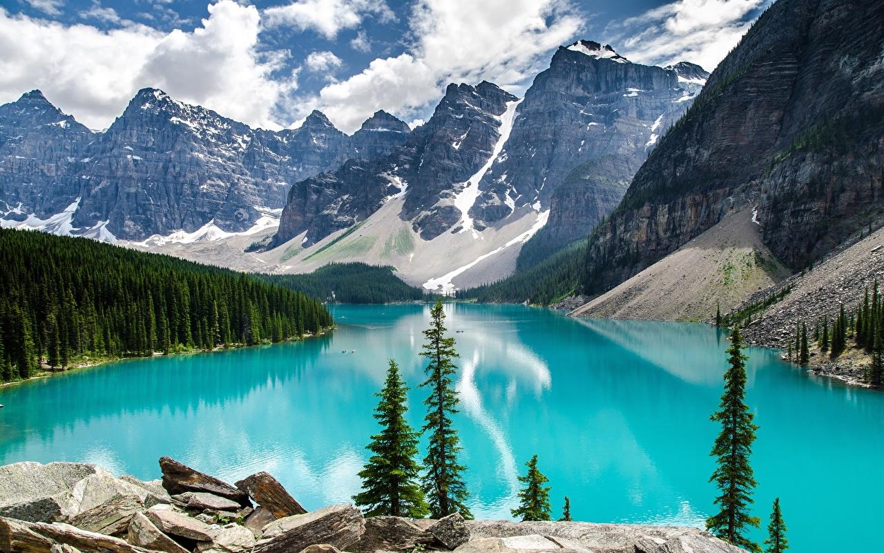 Hintergrundbilder Banff Kanada Moraine Lake, Alberta Natur Gebirge See Park Wälder Landschaftsfotografie Steine