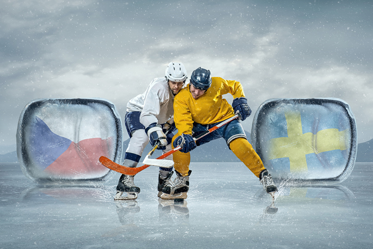 Wallpaper Ice skate Man Ice rink Two Sport Hockey Uniform Men 2