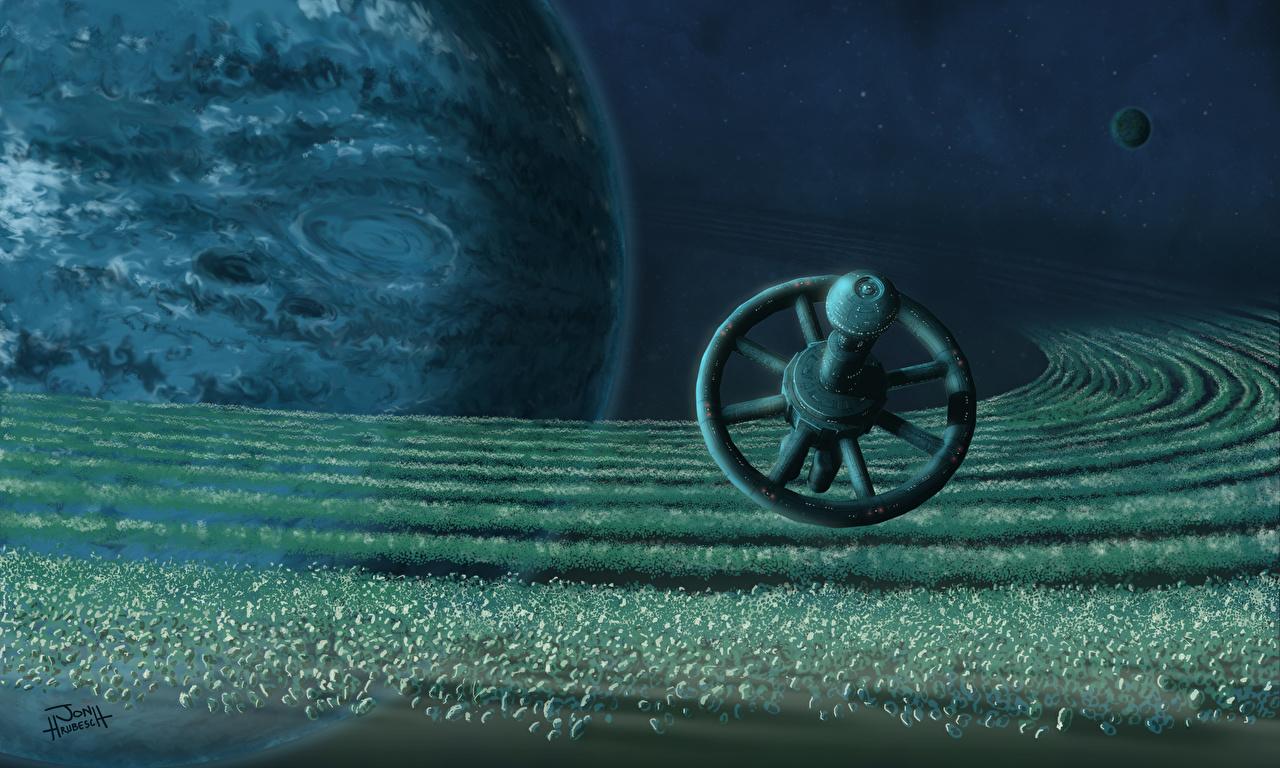 Achtergronden planeet Ruimtestation Ruimte Fantasy 3D afbeelding Planeten 3D graphics 3D afbeeldingen