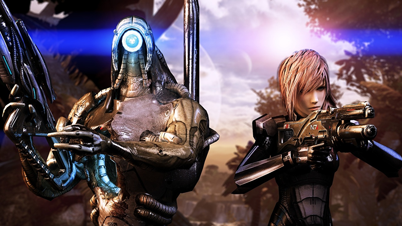 Photo Mass Effect Final Fantasy Armor rifle Aliens Warriors 3D