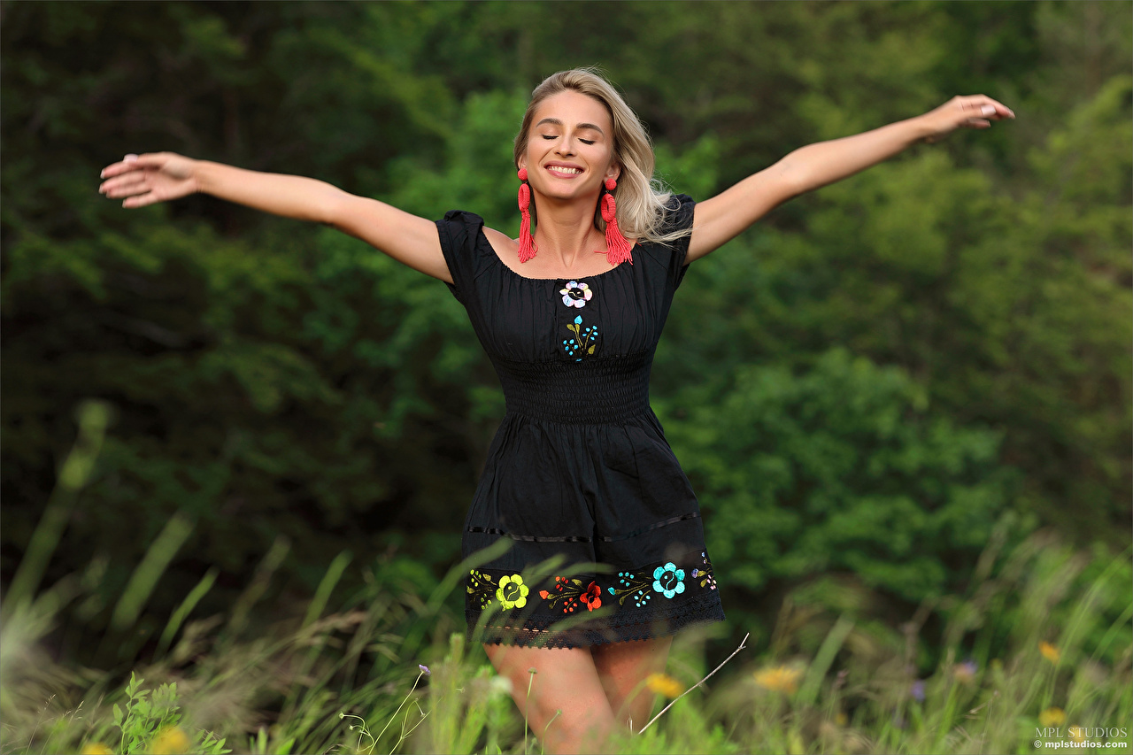 Wallpaper Cara Mell Blonde girl Smile Bokeh female Hands Grass Dress blurred background Girls young woman gown frock