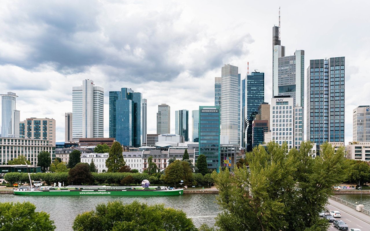 Images Frankfurt Germany Pier Rivers Cities Building river Berth Marinas Houses