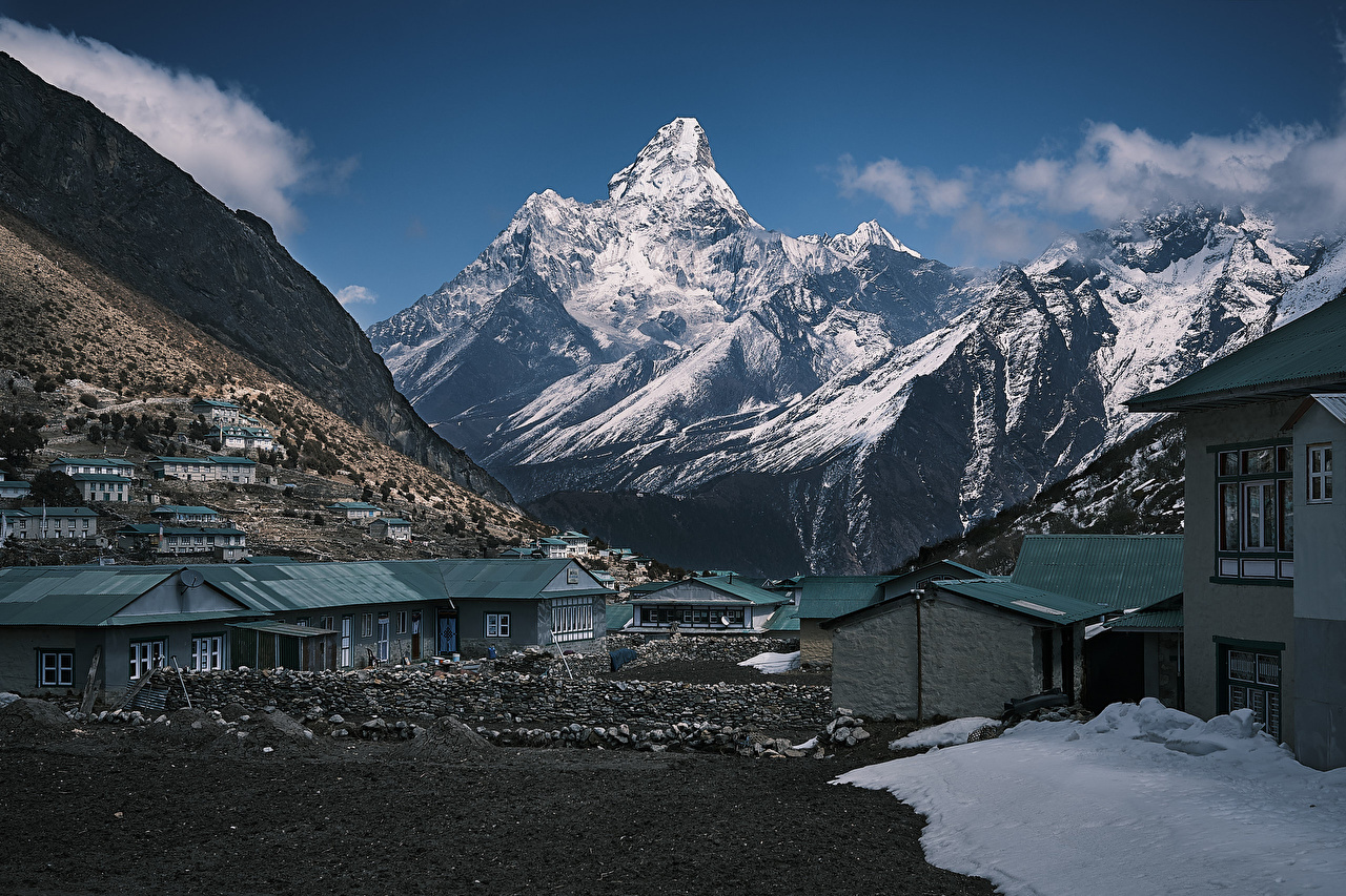 Fotos Dorf Nepal Himalaya Khumjung Winter Gebirge Haus Städte Berg Gebäude