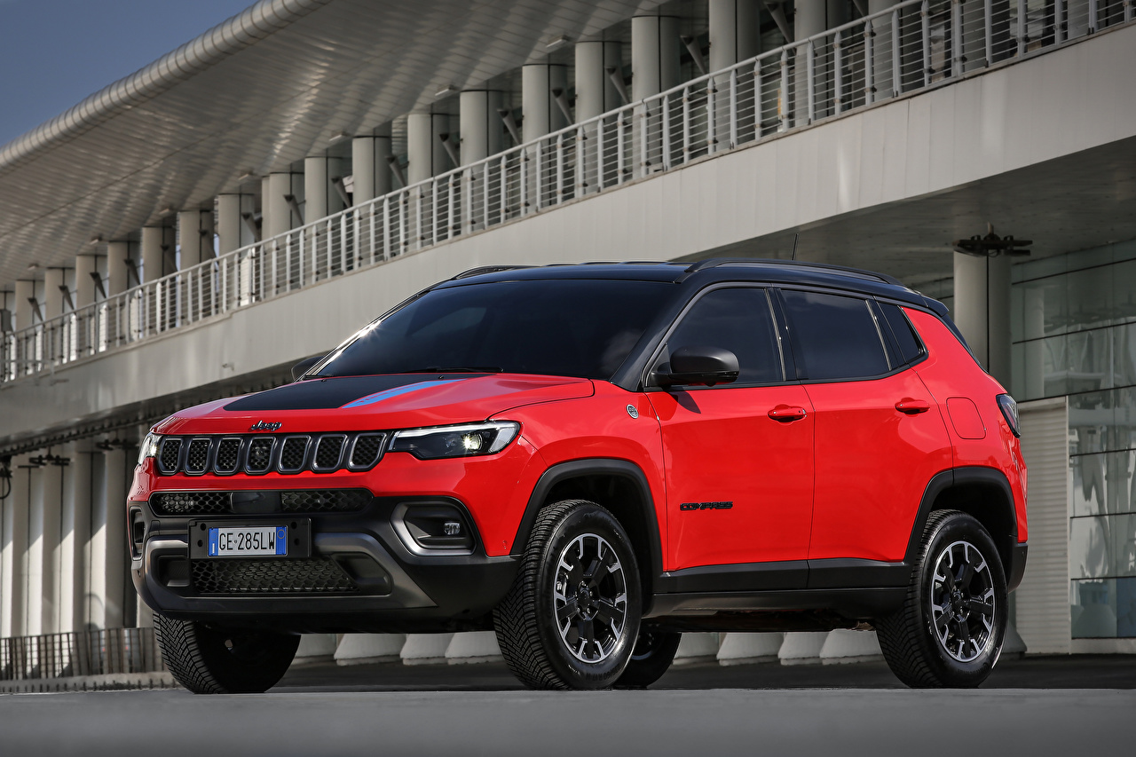 Desktop Hintergrundbilder Jeep Compass Trailhawk 4xe, EU-spec, (MP), 2021 Rot auto Metallisch Autos automobil