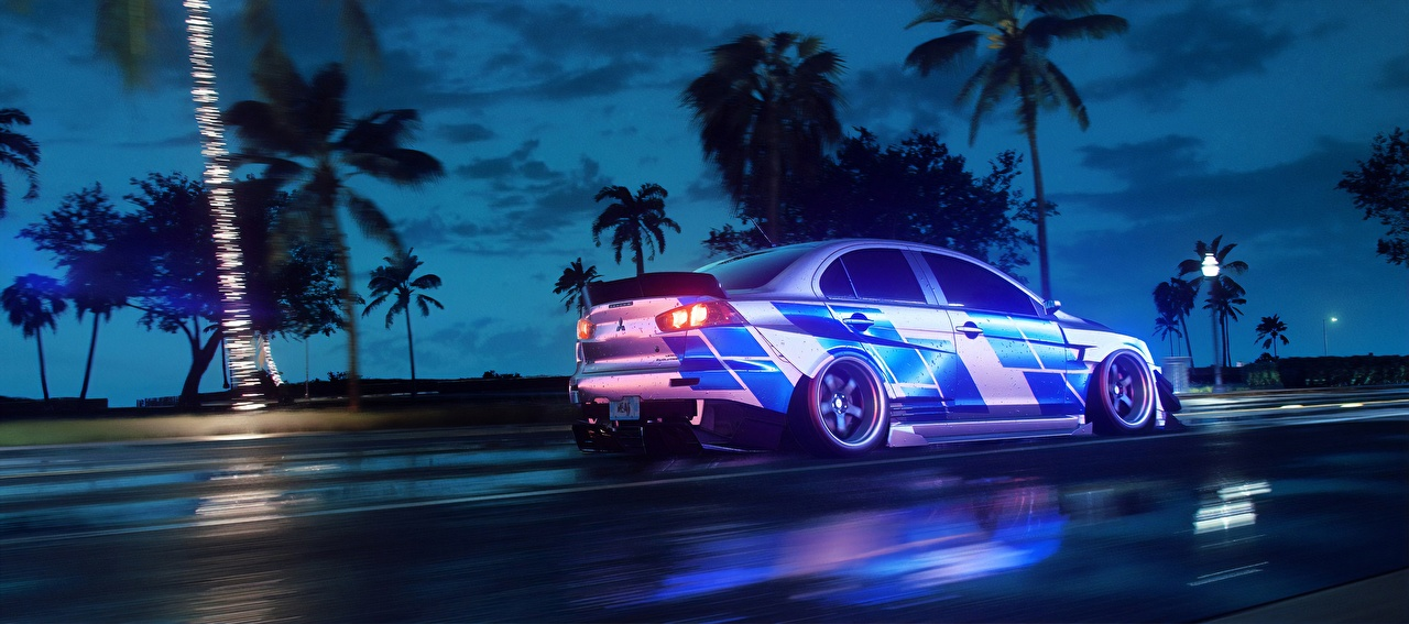 Image Need for Speed Mitsubishi Heat, Lancer 2019 Games Motion Side Cars moving riding driving at speed vdeo game auto automobile
