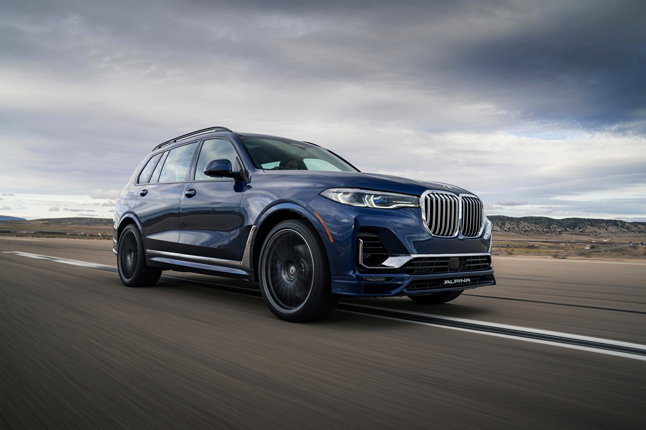 Images BMW Crossover Alpina, X7, G07, XB7, 2020 Blue Roads moving Cars Metallic CUV Motion riding driving at speed auto automobile